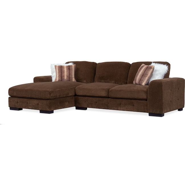 Living Room Furniture - Terry 2-Piece Sectional with Left-Facing Chaise - Chocolate