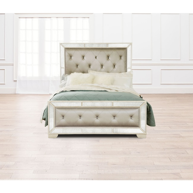 Bedroom Furniture - Angelina Queen Upholstered Bed - Metallic