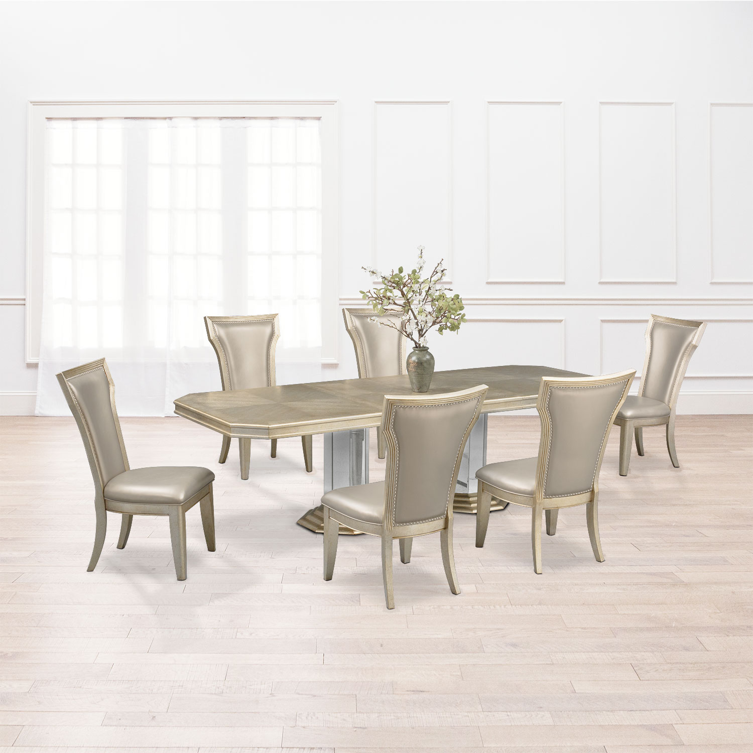 Dining Room Furniture   Angelina Double Pedestal Table And 6 Side Chairs    Metallic