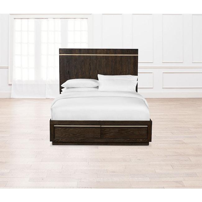 Bedroom Furniture - Gavin Queen Storage Bed - Brownstone