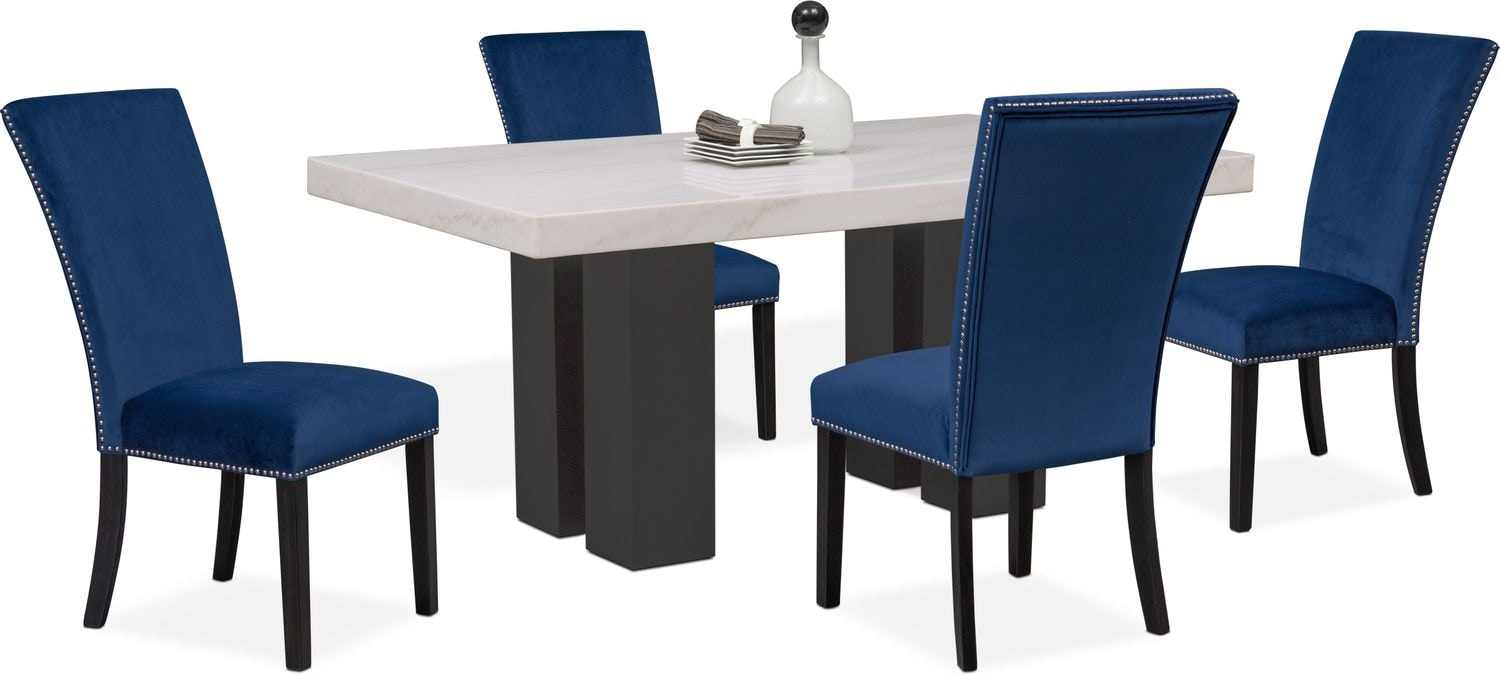 Artemis dining table and 4 upholstered side chairs blue