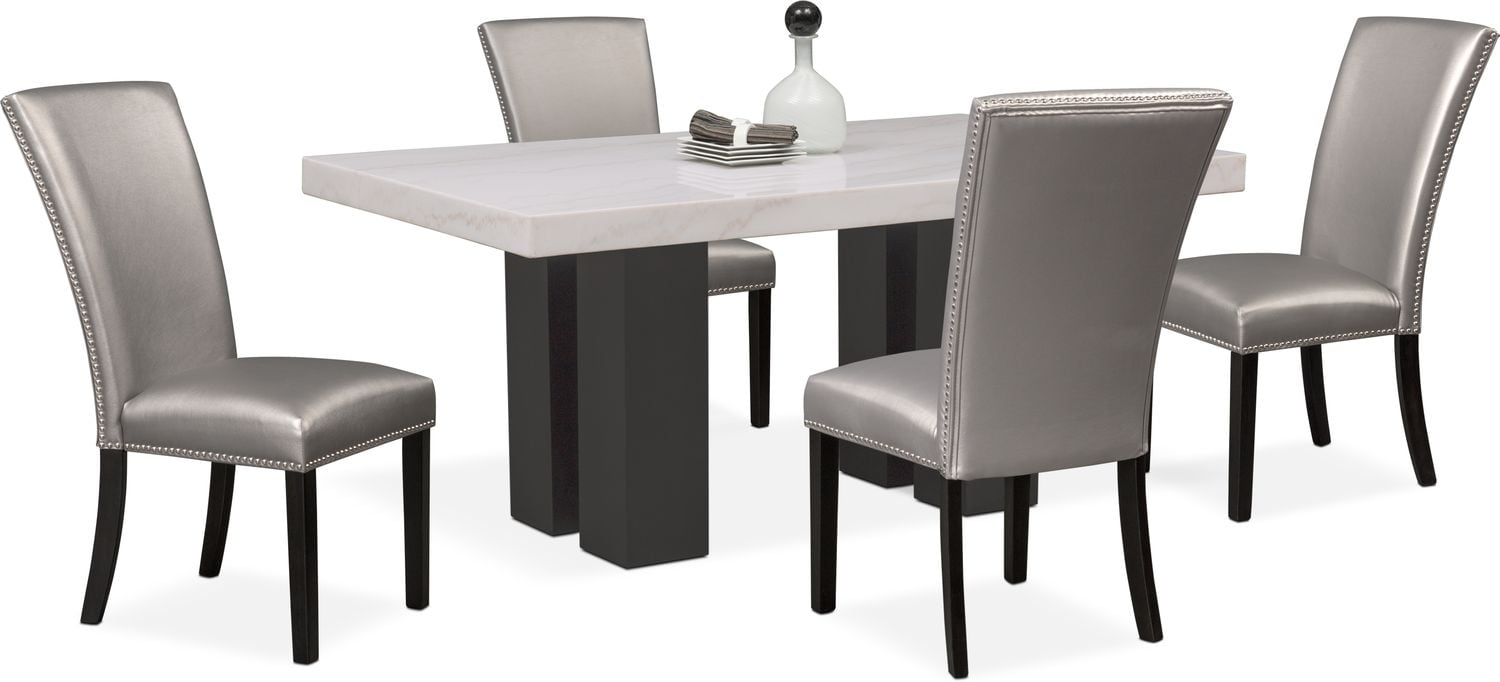Artemis Dining Table And 4 Upholstered Side Chairs   Gray