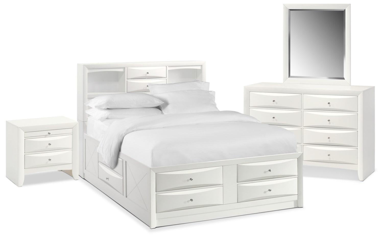 Bedroom Furniture   Braden 6 Piece Queen Bookcase Bedroom Set With Storage    White