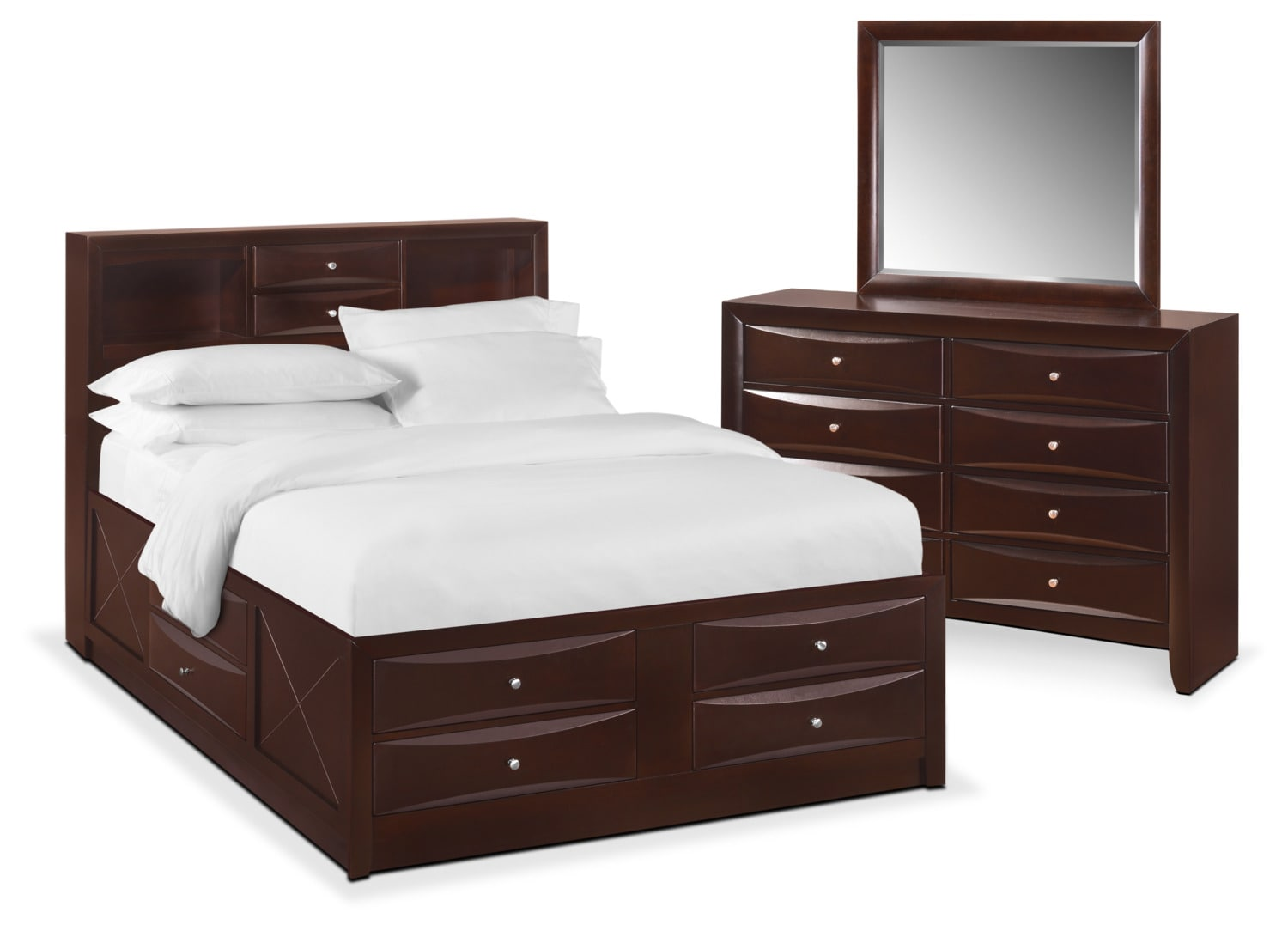 Bedroom Furniture - Braden 5-Piece Bookcase Bedroom Set with Storage, Dresser and Mirror