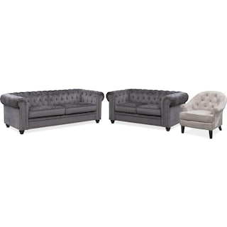Kings Road Sofa, Loveseat and Accent Chair Set - Charcoal and Silver
