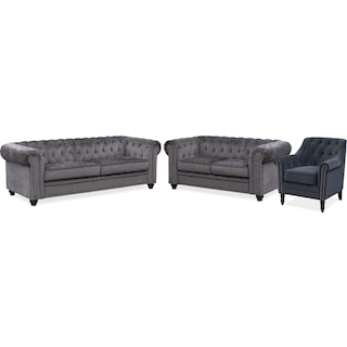 Kings Road Sofa, Loveseat and Accent Chair Set - Charcoal and Slate