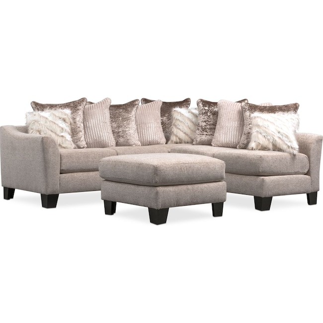 Living Room Furniture - Allure 2-Piece Sectional and Ottoman - Beige