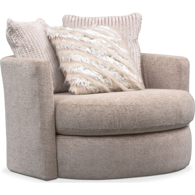 Living Room Furniture - Allure Swivel Chair - Beige