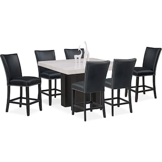 Artemis Counter-Height Marble Dining Table and 6 Upholstered Stools - Black