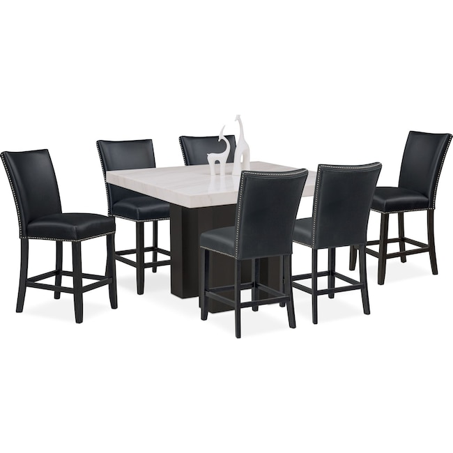 Dining Room Furniture - Artemis Counter-Height Marble Dining Table and 6 Upholstered Stools