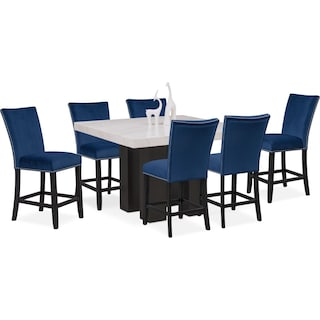 Artemis Counter-Height Dining Table and 6 Upholstered Stools - Blue