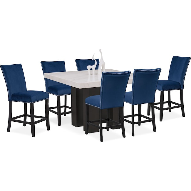 Artemis Counter-Height Dining Table and 6 Upholstered Stools - Blue ...
