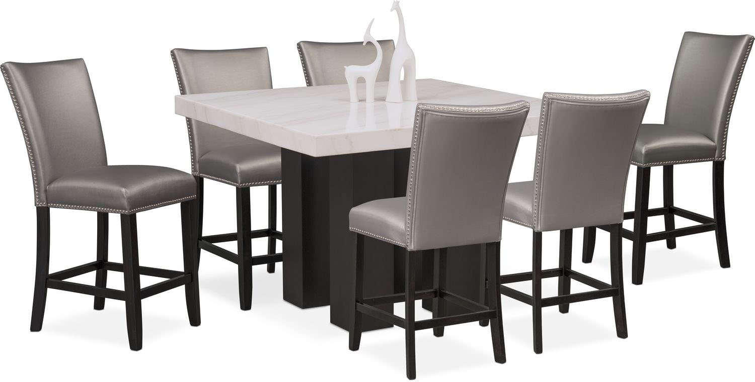 Dining Room Furniture - Artemis Counter-Height Dining Table and 6 Upholstered Stools