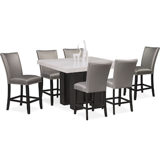 Artemis Counter-Height Dining Table and 6 Upholstered Stools - Gray