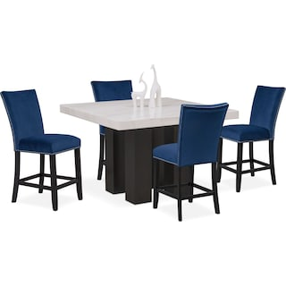 Artemis Counter-Height Dining Table and 4 Upholstered Stools - Blue