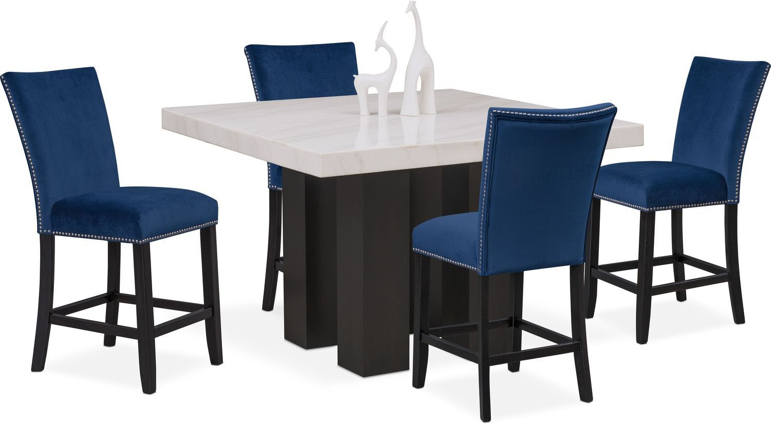 Artemis Counter Height Dining Table And 4 Upholstered Stools   Blue ...
