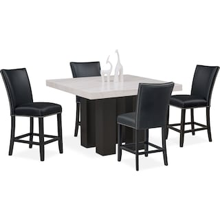 Artemis Counter-Height Dining Table and 4 Upholstered Stools - Black