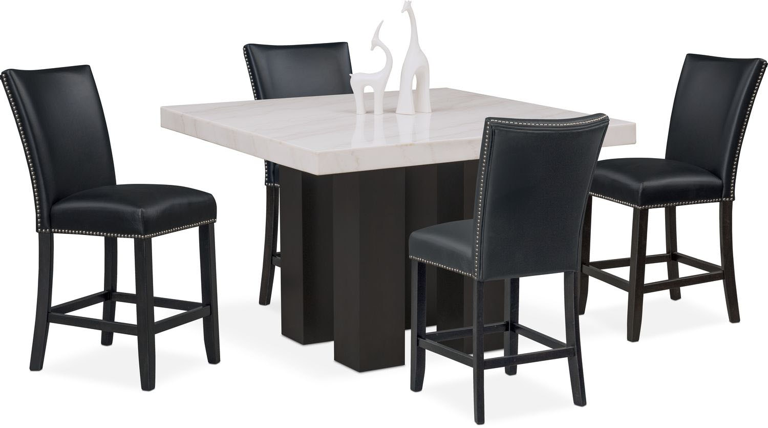 Artemis Counter Height Dining Table And 4 Upholstered Stools   Black