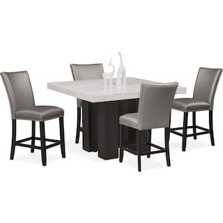 Artemis Counter-Height Dining Table and 4 Upholstered Stools - Gray