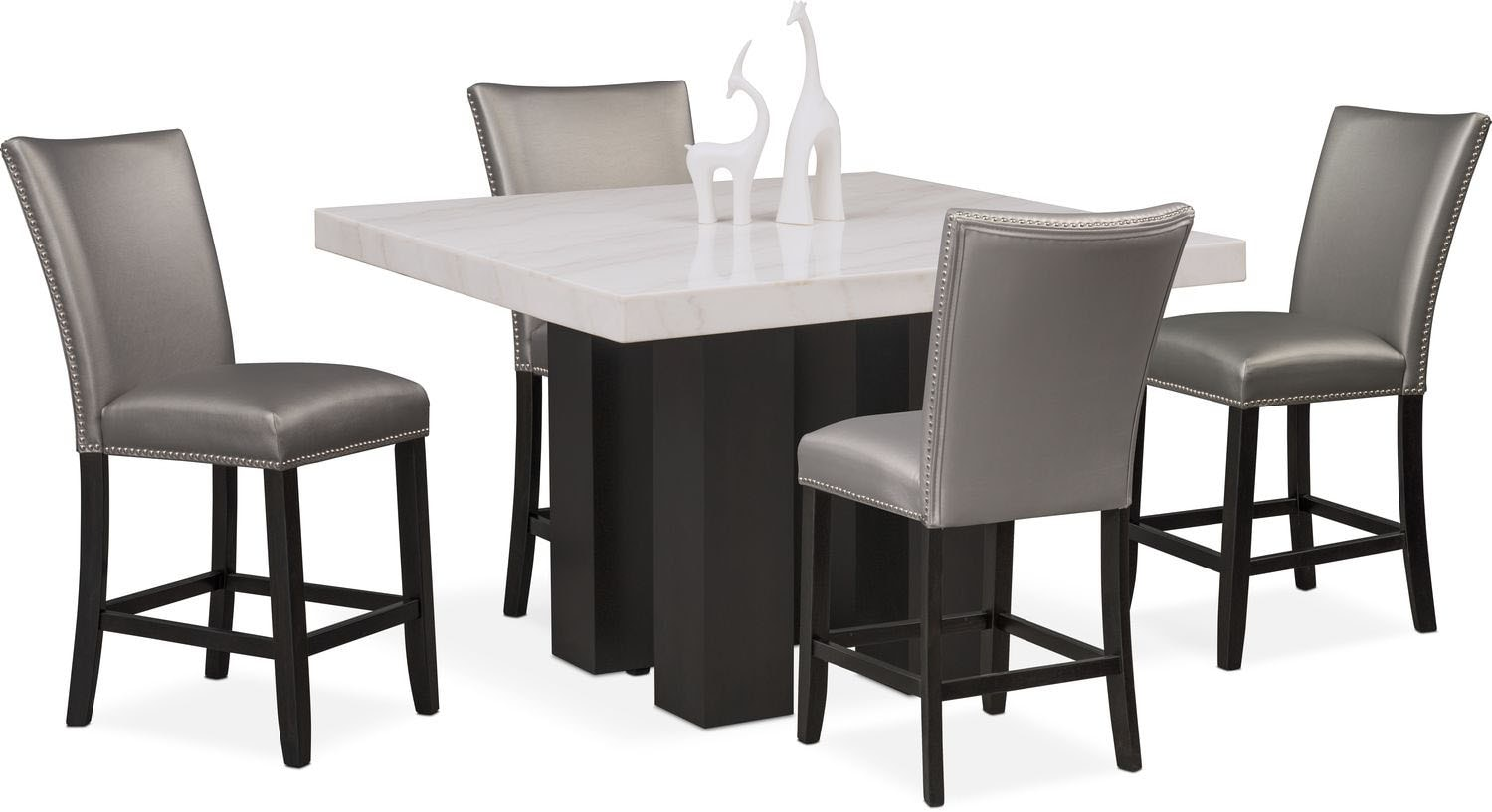 Dining Room Furniture   Artemis Counter Height Dining Table And 4  Upholstered Stools   Gray