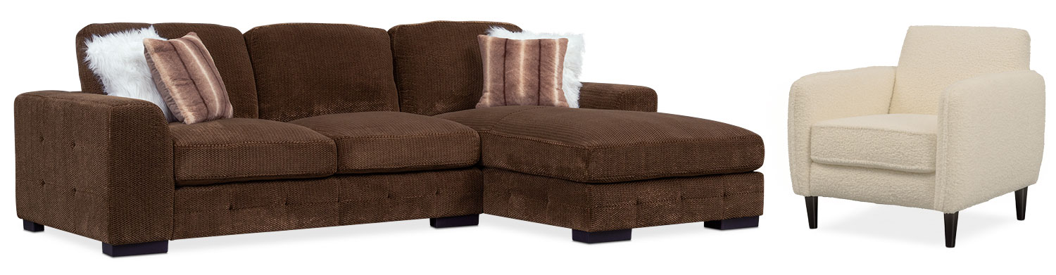 Beau Living Room Furniture   Terry 2 Piece Sectional With Right Facing Chaise  And Accent