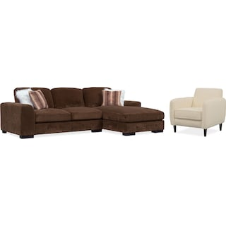 Terry 2-Piece Sectional with Right-Facing Chaise and Accent Chair Set - Chocolate
