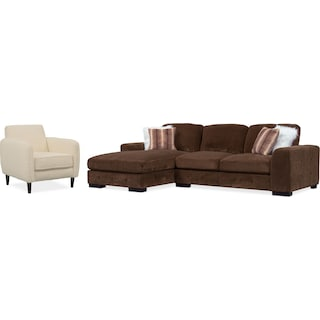Terry 2-Piece Sectional with Left-Facing Chaise and Accent Chair Set - Chocolate