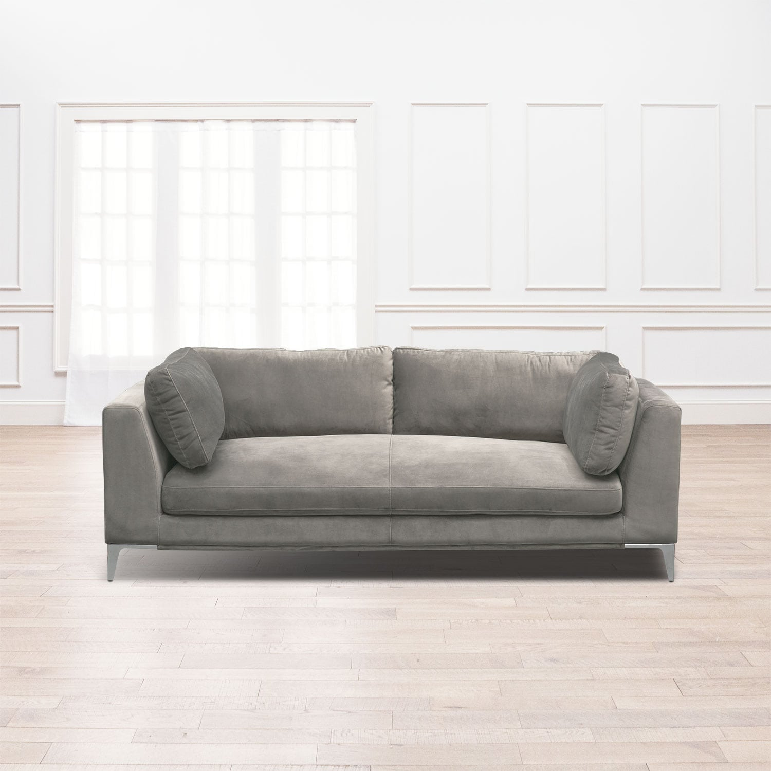 Aaron sofa flannel american signature furniture for 8 foot couch