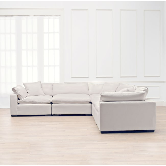 Living Room Furniture - Plush 5-Piece Sectional - Anders Ivory