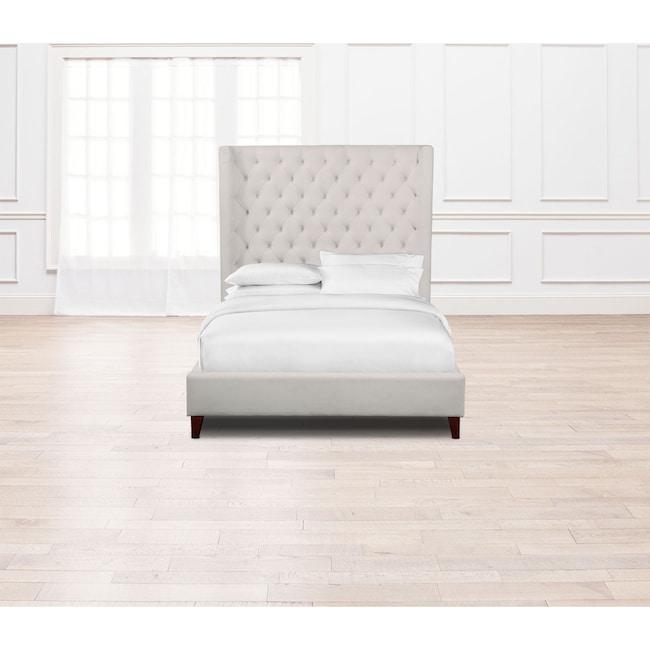 Bedroom Furniture - Mandarin Queen Upholstered Bed - Ivory