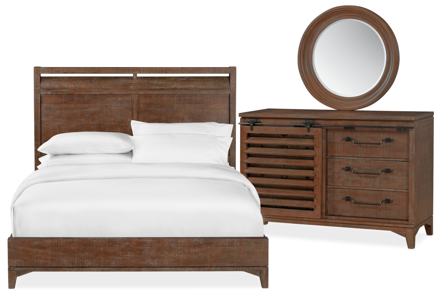 Bedroom Furniture - Gristmill 5-Piece Bedroom Set with Dresser and Mirror