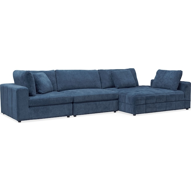 Living Room Furniture - Chill 3-Piece Sectional with Corner Chaise - Sapphire