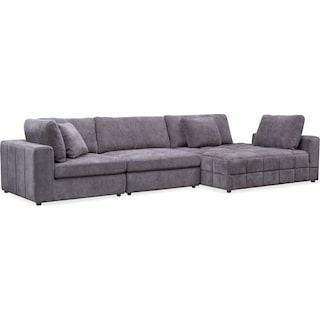 Chill 3-Piece Sectional with Corner Chaise - Gray