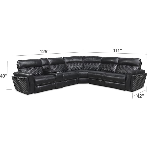 Living Room Furniture - Catalina 6-Piece Power Reclining Sectional with 3 Reclining Seats
