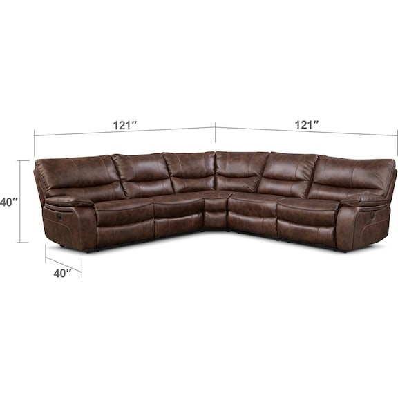 Living Room Furniture - Orlando 5-Piece Dual-Power Reclining Sectional with 3 Reclining Seats