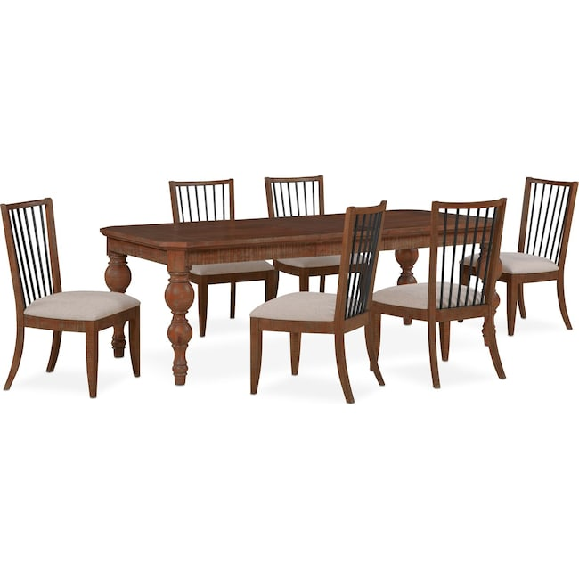 Dining Room Furniture - Gristmill Dining Table and 6 Side Chairs - Cocoa