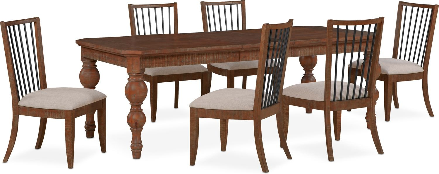 Dining Room Furniture - Gristmill Dining Table and 6 Side Chairs - Cocoa  sc 1 st  American Signature Furniture & Gristmill Dining Table and 6 Side Chairs - Cocoa | American ...