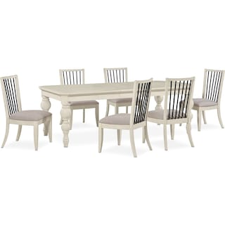 Gristmill Dining Table and 6 Side Chairs - Linen