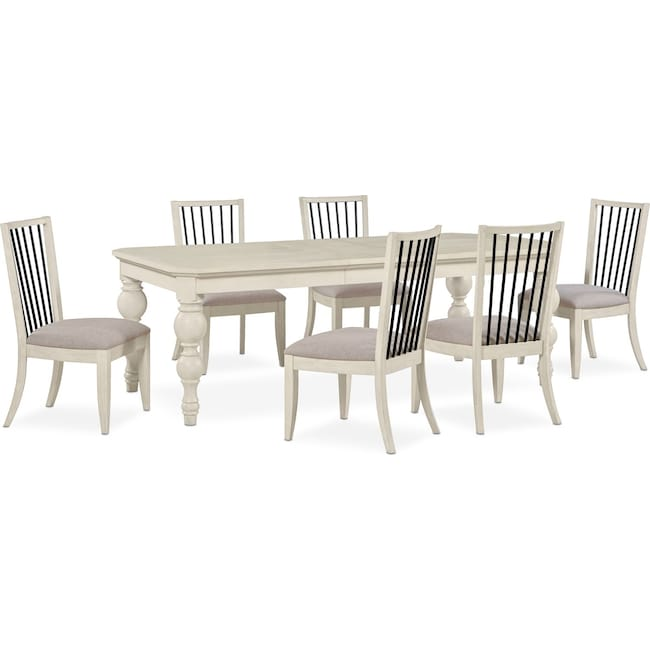 Dining Room Furniture - Gristmill Dining Table and 6 Side Chairs - Linen
