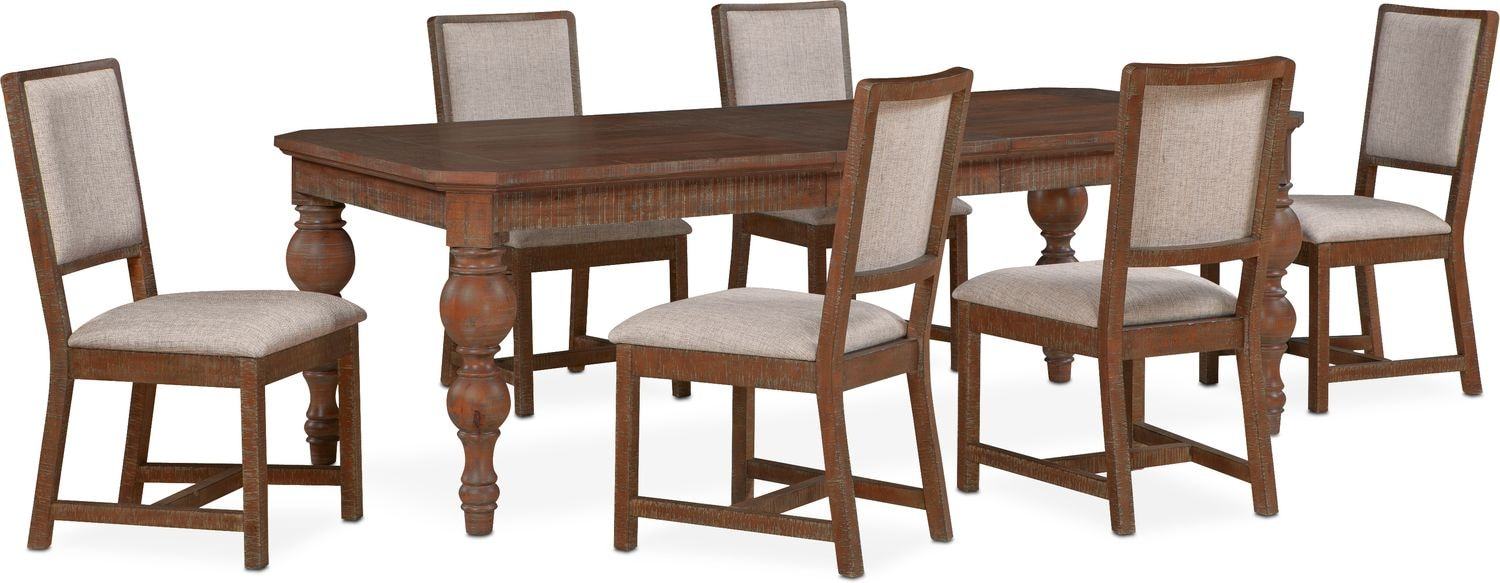 Gristmill Dining Table And 6 Upholstered Side Chairs