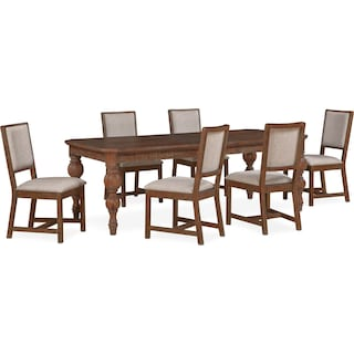 Gristmill Dining Table and 6 Upholstered Side Chairs - Cocoa