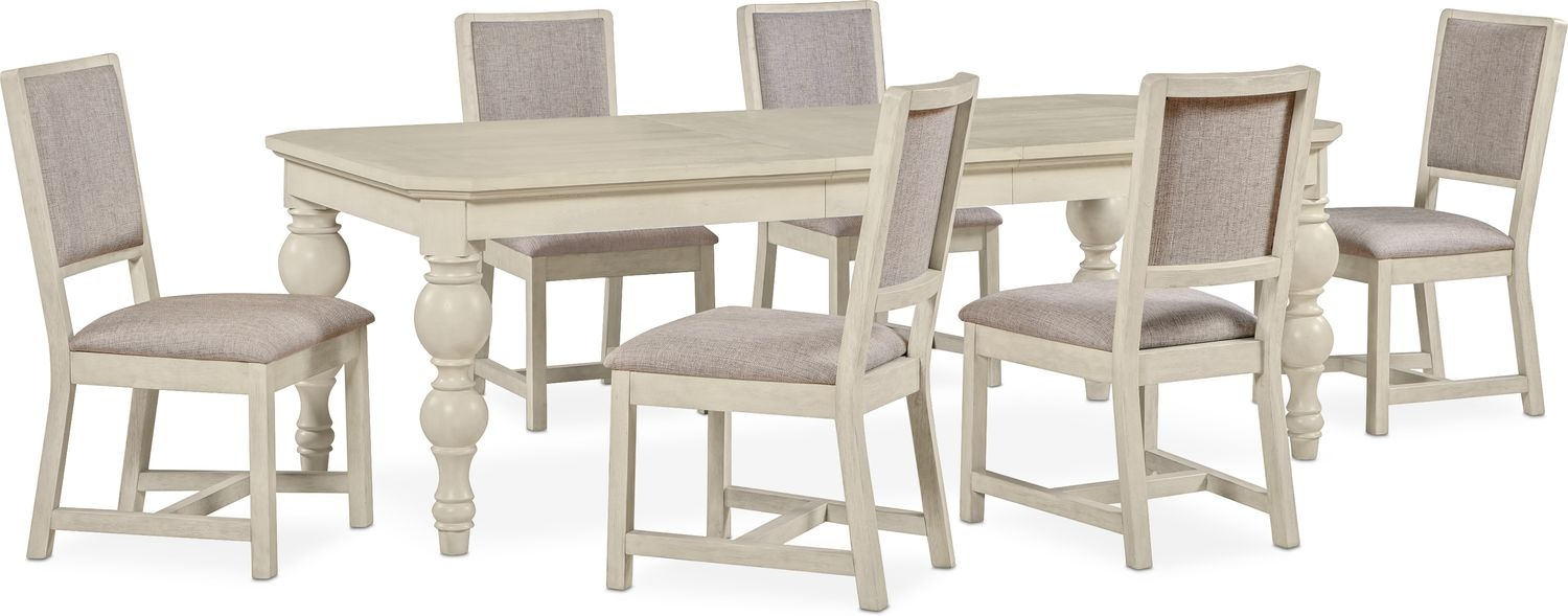 Dining Room Furniture - Gristmill Dining Table and 6 Upholstered Side Chairs - Linen