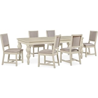 Gristmill Dining Table and 6 Upholstered Side Chairs - Linen