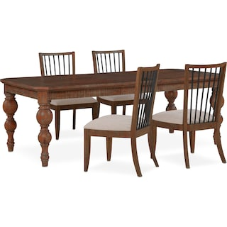 Gristmill Dining Table and 4 Side Chairs - Cocoa