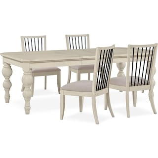 Gristmill Dining Table and 4 Side Chairs - Linen