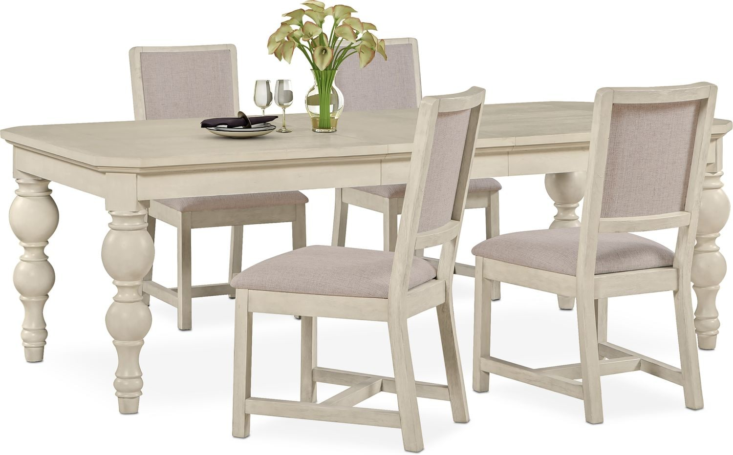 Dining Room Furniture - Gristmill Dining Table and 4 Upholstered Side Chairs - Linen