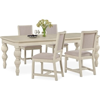 Gristmill Dining Table and 4 Upholstered Side Chairs - Linen