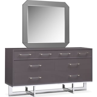 Concerto Dresser and Mirror - Gray