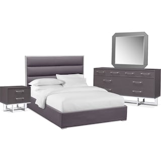 Concerto 6-Piece Queen Bedroom Set with Nightstand, Dresser and Mirror - Gray