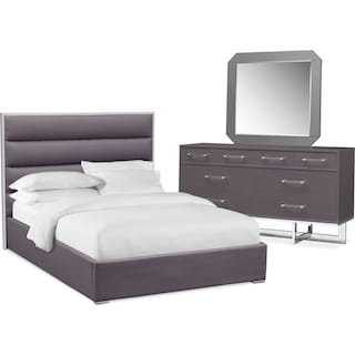 Concerto 5-Piece Queen Bedroom Set with Dresser and Mirror - Gray